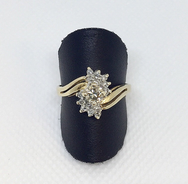 Champagne Center Cluster Diamond Ring