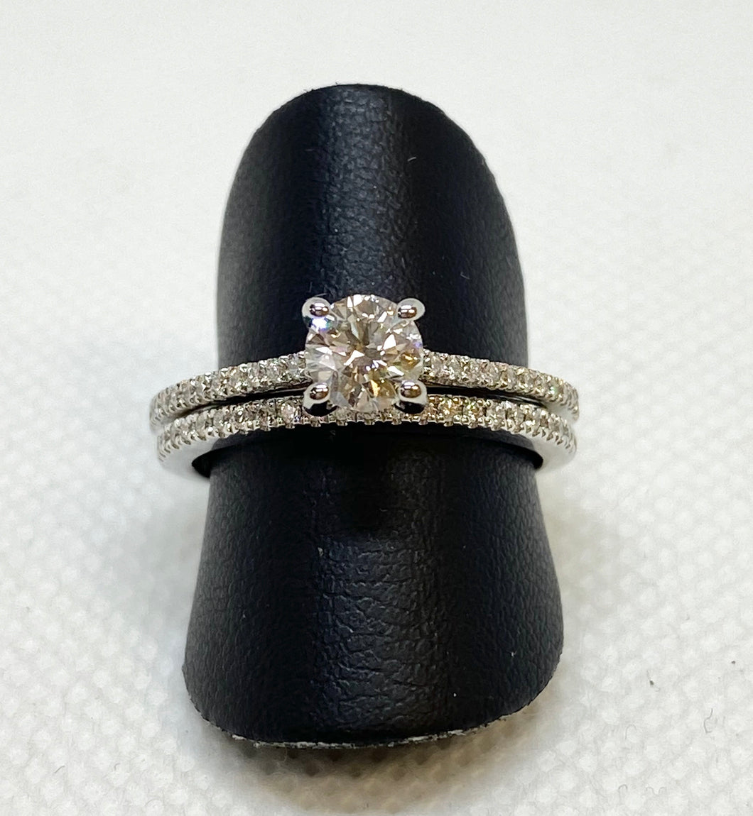 Pleasant 14K Round White Gold Engagement | Wedding Set