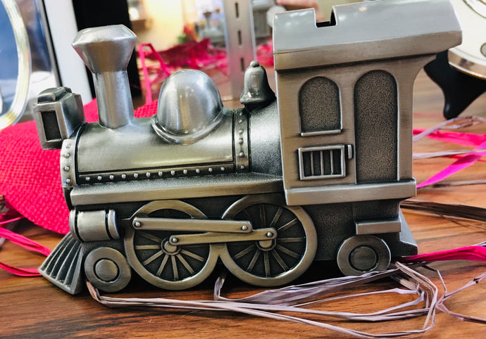 Pewter Train Baby Bank