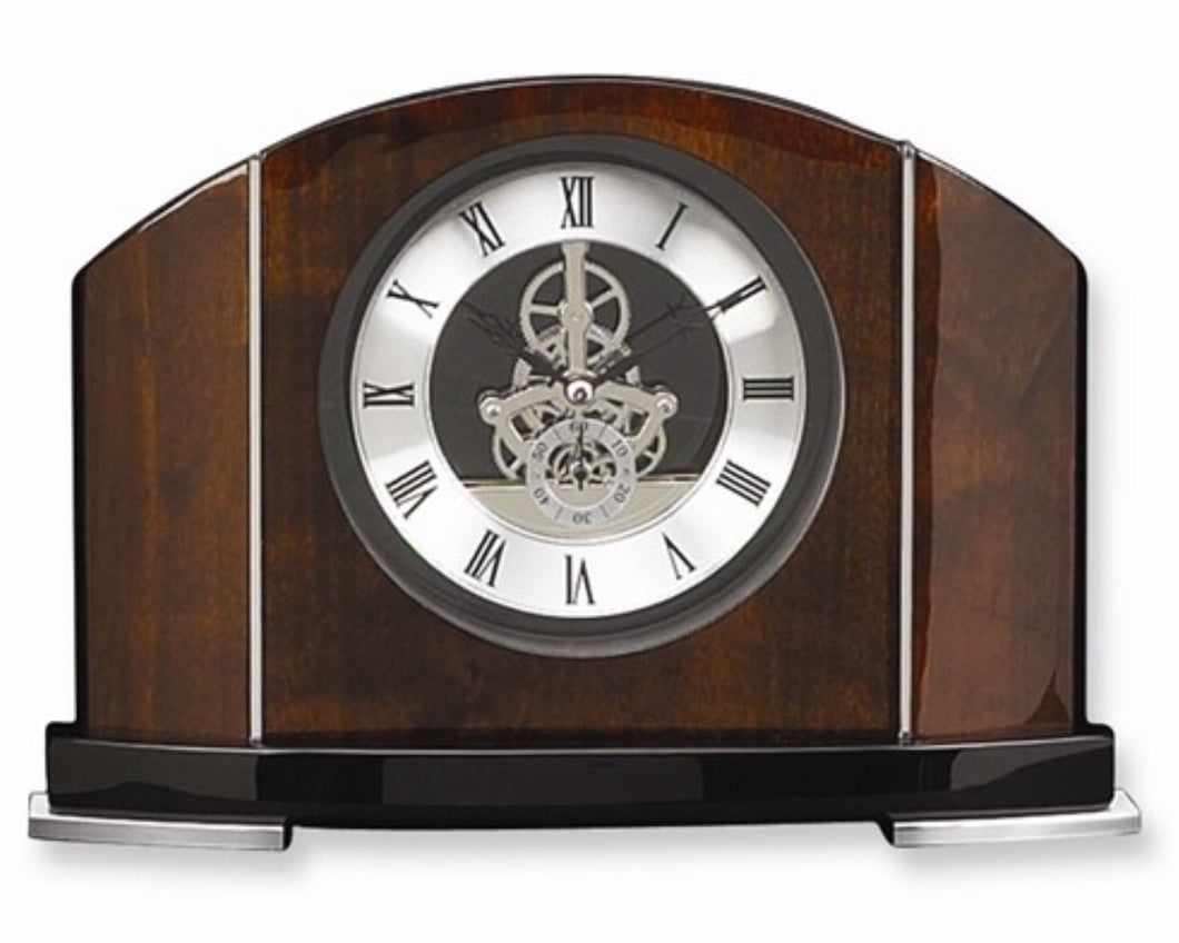 Rosewood and Chrome Trim Mantle Clock