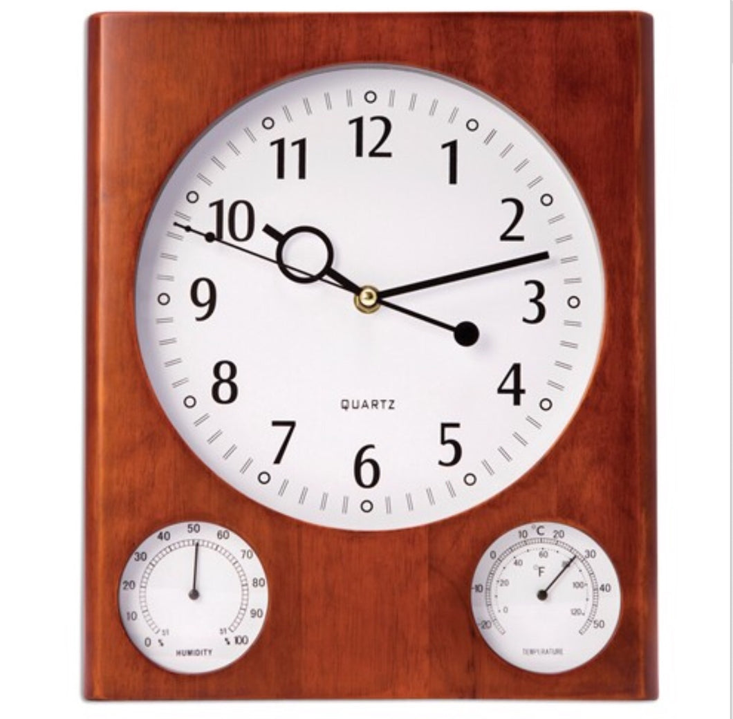 Cherry Wall Clock with Thermometer & Hygrometer