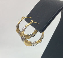 Load image into Gallery viewer, Two Tone Gold Hoop Earrings