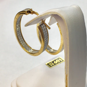 Large Oval Gold Plate Faux Diamond Hoops