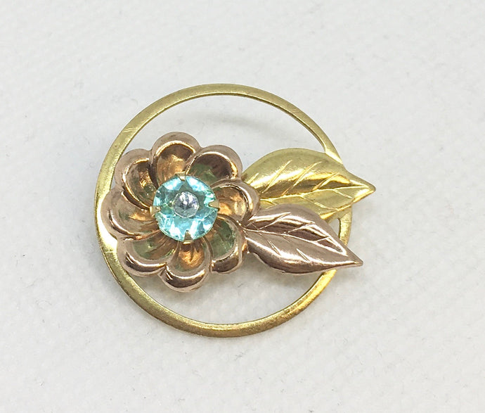 Gold Plated Two Tone Flower Pin