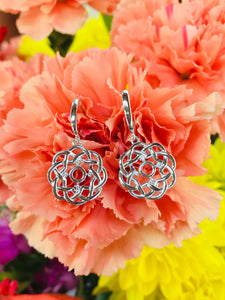Sterling Silver Dangle Flower Earrings