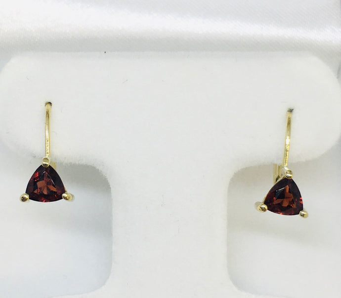 14K Yellow Gold Trillion Cut Garnet Earrings