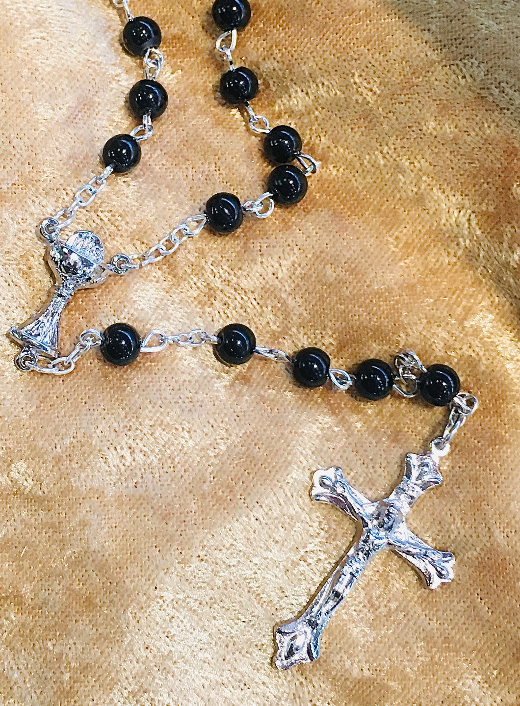 Black Glass Bead Rosary With Chalice