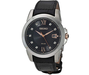 Men's White Bezel Black Dial Leather Solar Seiko Watch