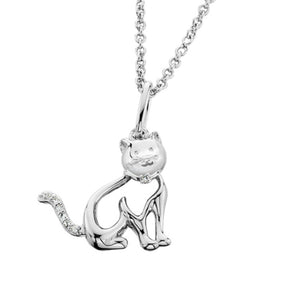 Sterling Silver & CZ Cat Necklace