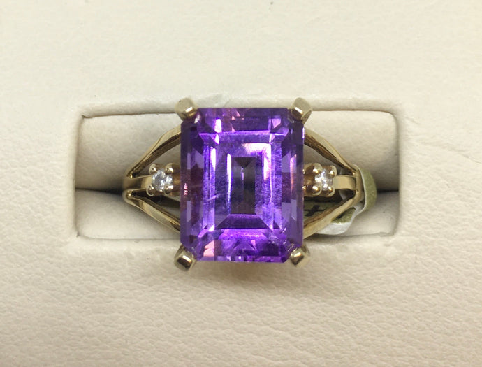 Emerald Cut Amethyst & Diamond Ring