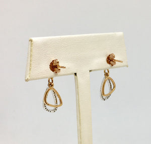 Rose Gold & Diamond Dangle Earrings