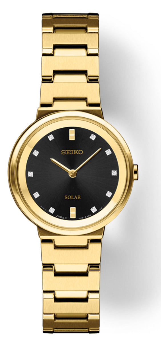 Sleek Black and Yellow Ladies Seiko Watch