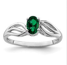 Load image into Gallery viewer, Sterling Wave Birthstone Rings