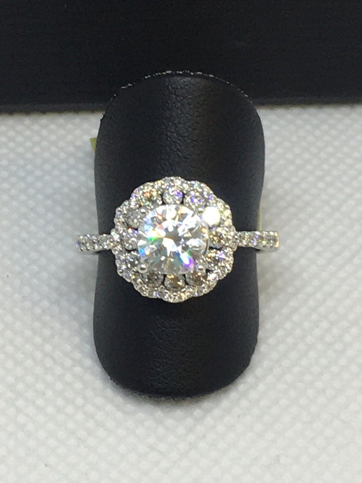 Double Halo Floral Engagement Ring