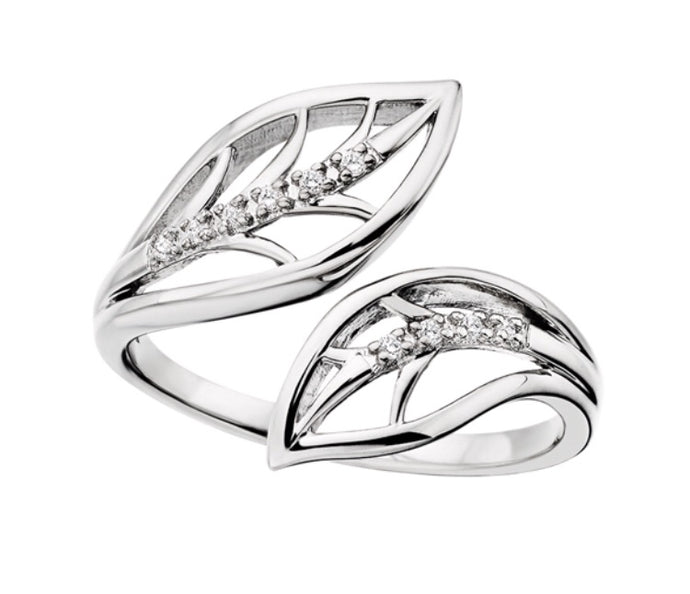 Sterling Bypass Feather Ring
