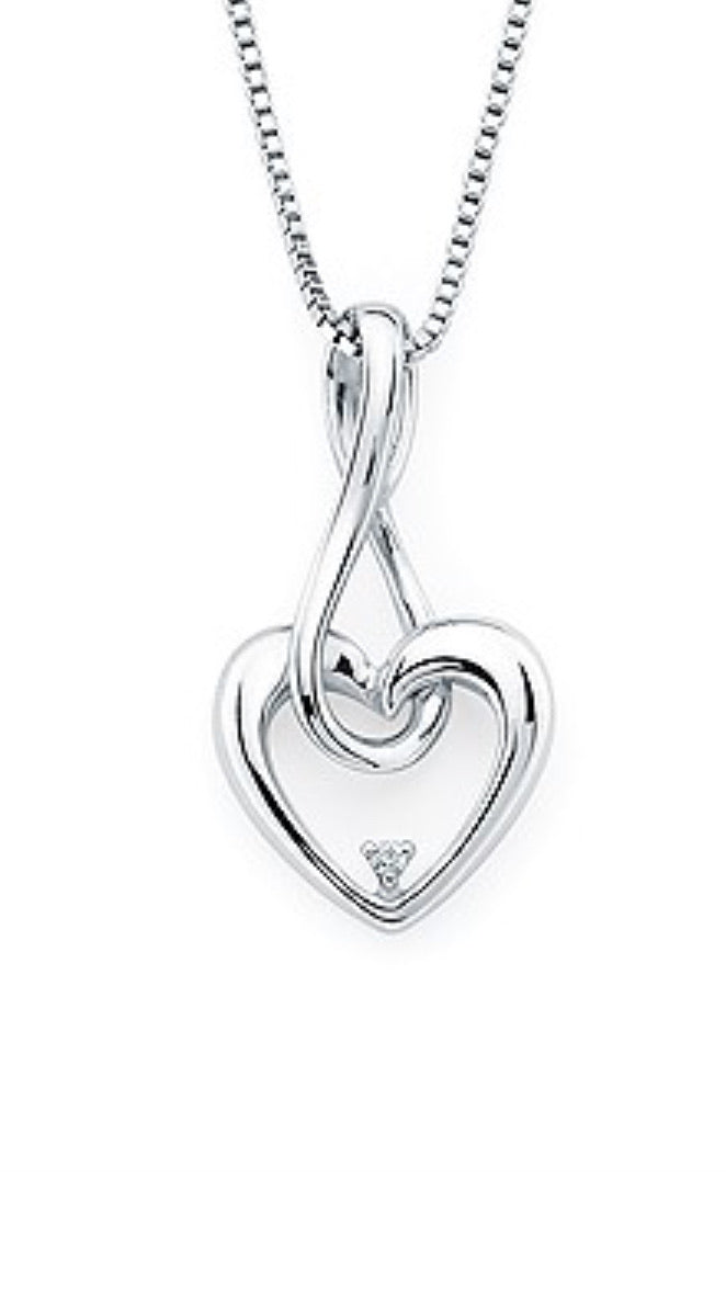Infinity Heart and Diamond Pendant
