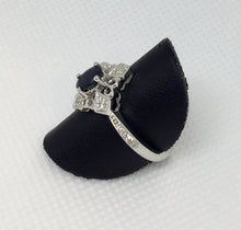 Load image into Gallery viewer, Directional Diamond & Sapphire Ring