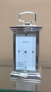 Mini Silver-plated Bulova Clock with Hidden Jewelry Compartment