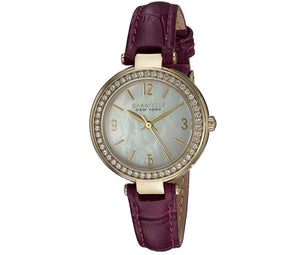 Women's Purple Leather Mother of Pearl Dial Caravelle Watch