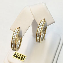 Load image into Gallery viewer, Small Round Gold Plate Faux Diamond Hoop Earrings