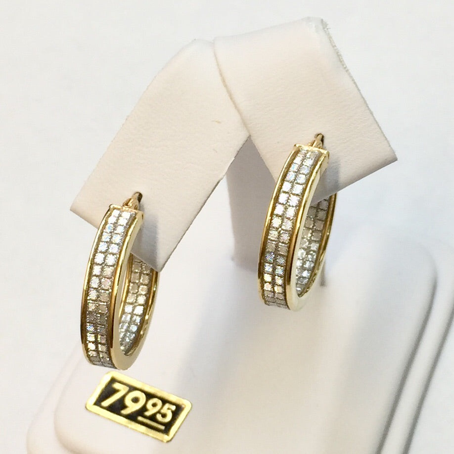 Small Round Gold Plate Faux Diamond Hoop Earrings