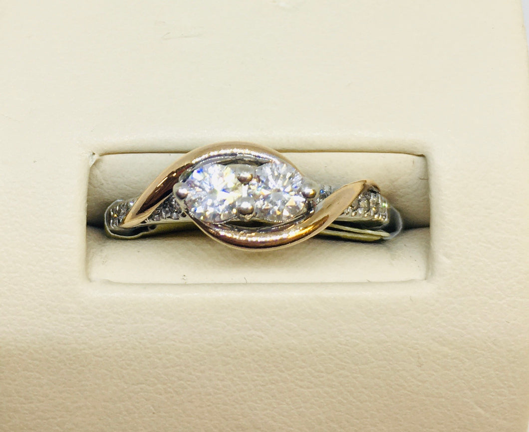 14k White & Rose Diamond Ring