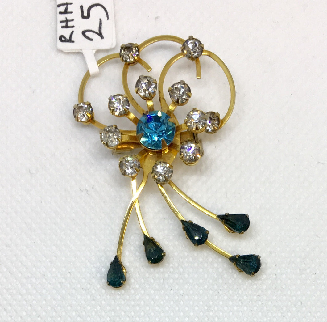 Flourish Rhinestone Costume Brooch