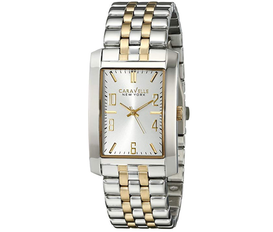 Men's Two-Tone White Dial Caravelle Watch