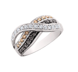 Champagne, Black & White Diamond Ring