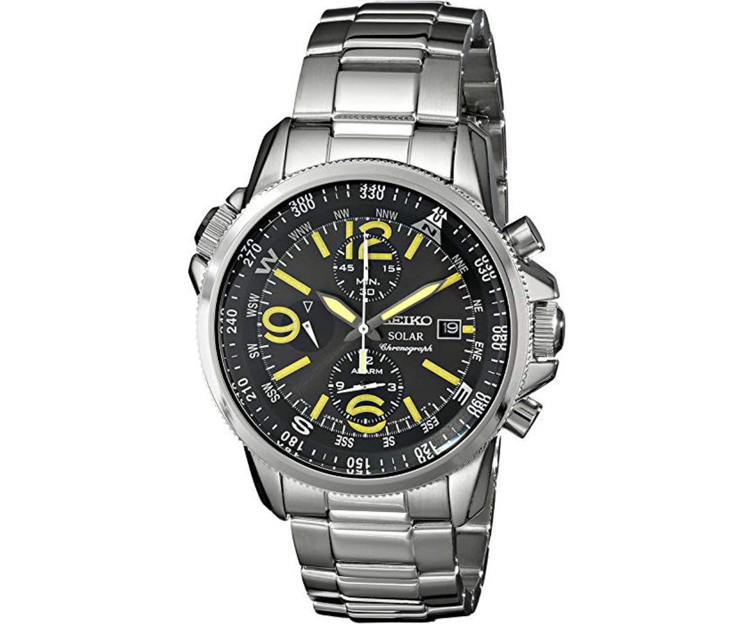 Men's Silver-Tone Solar Black Dial Seiko Watch