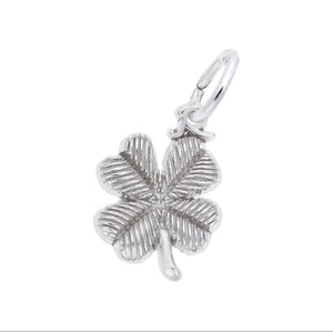 Sterling Silver 3D Four Leaf Clover Charm