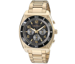 Men's Gold-Tone Black Dial Caravelle Watch