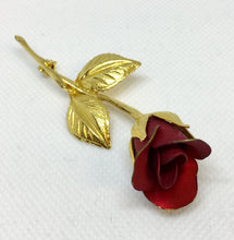 Load image into Gallery viewer, Red Rose Costume Brooch