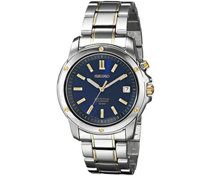 Men's Silver-Tone Navy Dial Seiko Watch