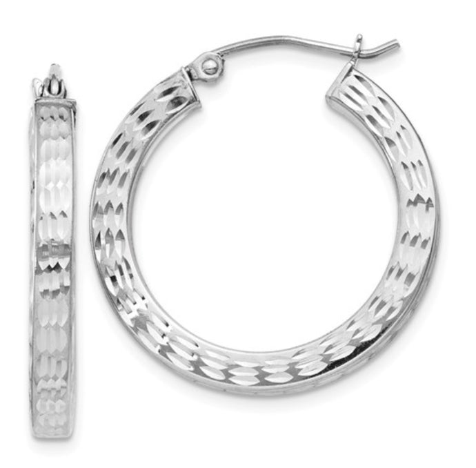 Sterling Silver Diamond Cut Square Hoop Earrings