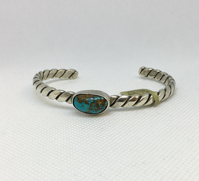 Oval Turquoise and Silver Cuff Bracelet