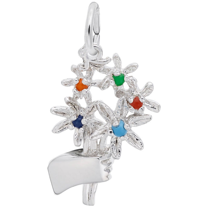 Sterling Silver Bouquet of Flowers Charm