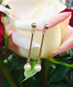 Pearl and Gold Dangle Earrings