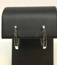 Load image into Gallery viewer, Black Diamond Huggie Hoop Earrings