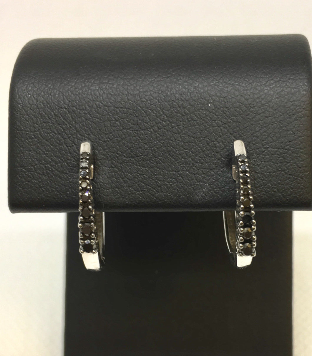 Black Diamond Huggie Hoop Earrings