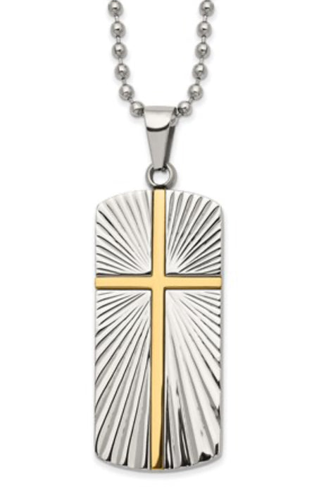 Stainless Steel and Gold Plate Dog Tag