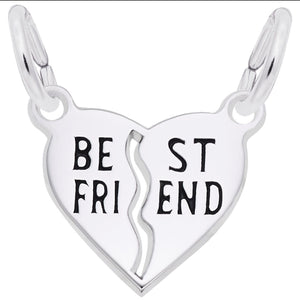 Sterling Silver Best Friend Shared Heart Charm