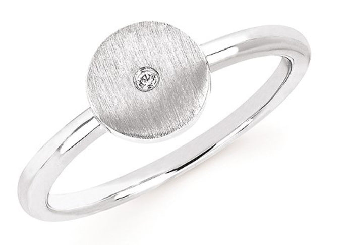 Sterling Silver Round Satin Ring