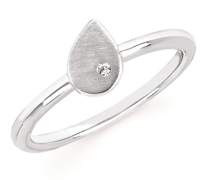 Sterling Silver Pear Shape Satin Finish Ring