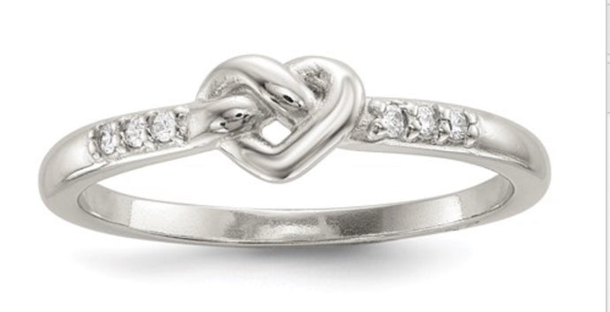 Sterling Silver & CZ Heart Knot Ring