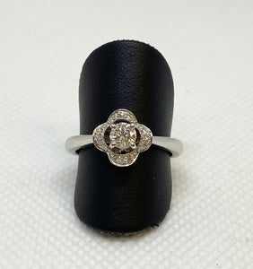 Divine 14K White Round Engagement Ring
