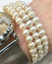 Load image into Gallery viewer, Three Row Pearl Cuff Bracelet