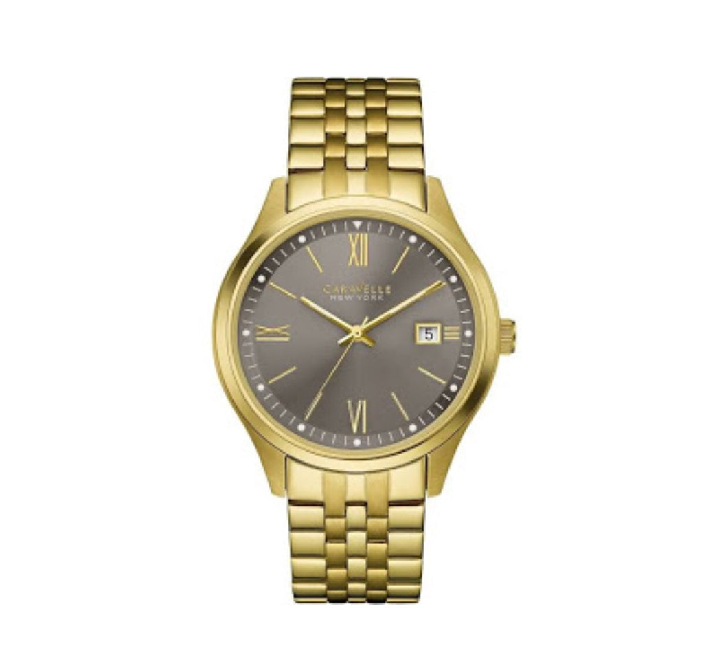 Men's Gold-Tone Gray Dial Caravelle Watch