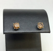 Load image into Gallery viewer, Brown Diamond Stud Earrings