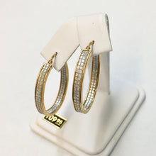 Load image into Gallery viewer, Large Oval Gold Plate Faux Diamond Hoops